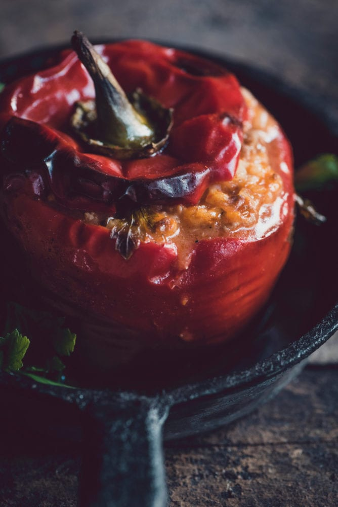 Served stuffed peppers in the pan,selective focus