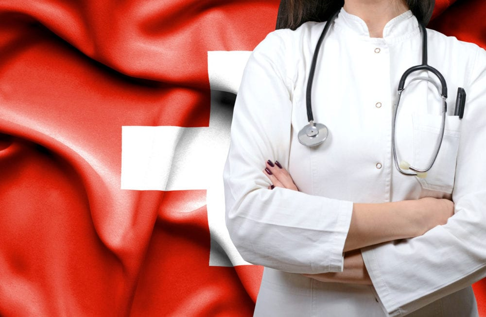 Conceptual image of national healthcare system in Swiss