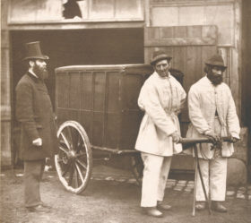 """Street Disinfecting, Photograph (woodburytype) by John Thomson - for """"Street Life in London"""" (1877) Hans Schwarz Collection"""