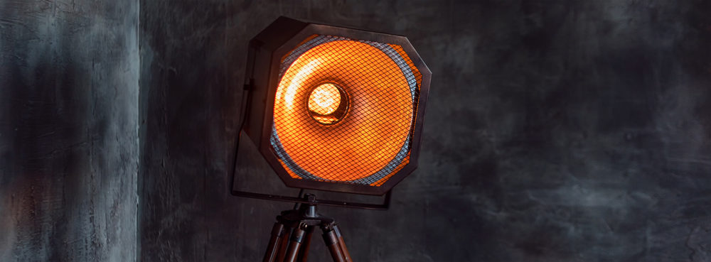 Vintage light source lamp, loft light. Background photo with copy space for text