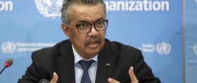 Tedros Adhanom Ghebreyesus, Director General of the World Health Organization (WHO), informs to the media about the update on COVID-19